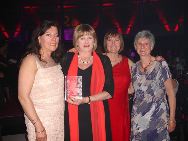 The Missenden Abbey Contingent: Jill Booker (Floristry Tutor) Jill Harden (Medal Winner, Floristry and Lion Award) Jane Robinson (Medal Winner, Stitched Textiles), and Janet Edmonds (Embroidery Tutor)