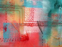 Gesso, acrylic mono-print, hand-stitch and couching, dyed with Procion.
