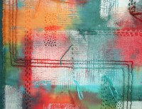 Gesso, printed acrylic, hand-couching, dyed with Procion