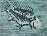Mono-print of fossil fish