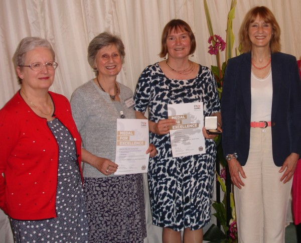 Medal Presentation. Left to right: Margaret Walker,  Chief Verifier for Creative Studies at City and Guilds; Janet Edmonds, Embroidery Tutor; Me; Beth French, Adult Learning Service Manager for Bucks CC.