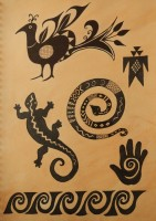 Native American ceramic designs in ink and wash