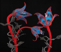 Machine-embroidered Turkish Tulip Light, stitched on soluble fabric and aluminium florists wire