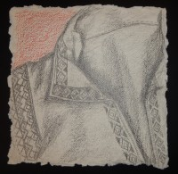 Pencil drawing of antique counted-thread embroidery