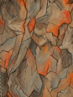 Water-colour of flaking rock