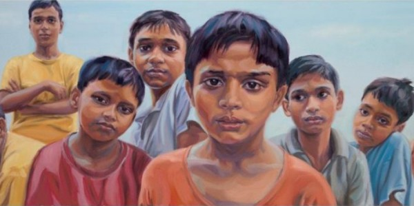 Painting by Claire Phillips: Mukti-Ashram Boys