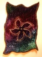 Dyed viscose velvet, machined metal thread