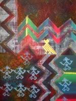 Hot-wax batik on paper, print, Procion dye and machine stitch