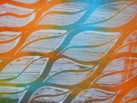 Acrylic mono-print on dyed silk