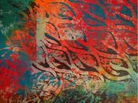 Acrylic mono-print over gesso, with Procion dye