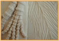 Wrapping over crochet-cotton, machine pin-tucks on khadi silk.